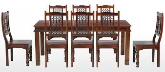 jali sheesham 200 cm chunky dining table and 8 chairs quercus living jali sheesham 200 cm chunky dining table and 8 chairs