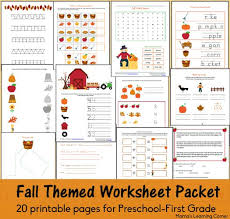fall worksheet packet for preschool first grade worksheets