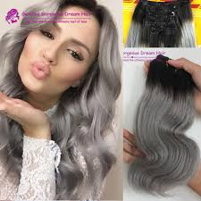 Indian Remy Human Hair Clip In Extensions by Ombre 1b Grey Clip In Human Hair Extensions 1b Grey Boby Wave
