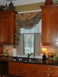 window treatment ideas kitchen kitchen brown wooden kitchen cabinet with half curtain and mount