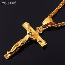 crucifix gold necklace images Collare inri crucifix cross necklace gold rose gold black gun jpg