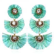 suzanna dai earrings suzanna dai tuquoise rafia fan earrings hauteheadquarters