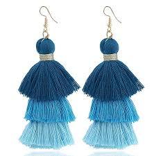 types of earrings for women fan type tassel earrings for women jewelry 3 layered fringe drop