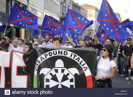 Italian Fascist Flag Milan Italy Demonstration Of Neo Fascist Group Casa Pound