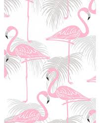wallpaper with pink flamingos flamingo and palm leaves wallpaper pink and grey fine decor fd42215