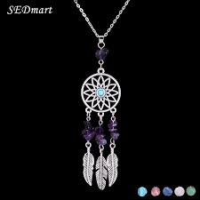 natural stone necklace pendant images Sedmart indian feather dreamcatcher reiki natural stone pendant jpg