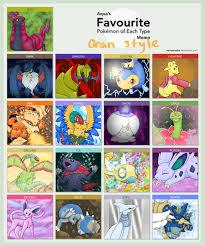 Favorite Pokemon Meme - favorite pokemon of each type meme oran style by oranguin on
