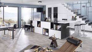 image cuisine moderne cuisine moderne îlot central blanc gris et bleue ambiance patchwork