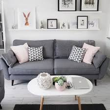beautiful living room idea with grey sofa white open shelve and