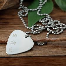Engraved Guitar Pick Necklace Silver Guitar Pick Necklace Personalized Guitar Pick Necklace