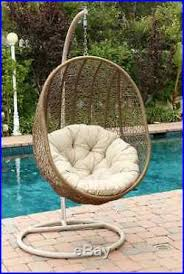 wicker hanging egg chair hammock swing patio pool deck bed sea