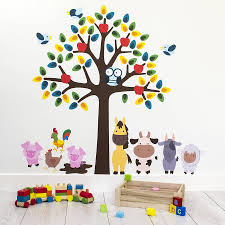 animal wall stickers tree with farm animals wall sticker