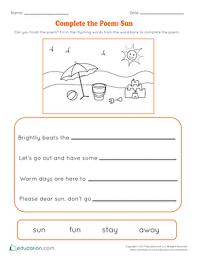 complete the poem sun worksheet education com