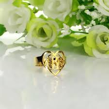Custom Monogram Rings Handmade 3 Initials Monogram Ring Heart Shape Initials Ring Gold