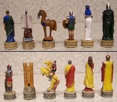 chess set pieces ancient battle of troy vs sparta vs mycenae new
