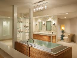 lighting bathtub and vanity cabinet with glass shelves also