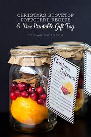 christmas stovetop potpourri recipe free printable gift tags