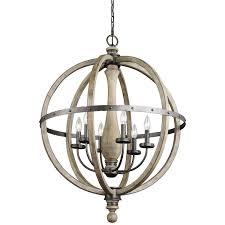 lighting vintage 6 light wooden orb chandelier for traditional