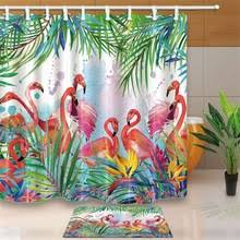 Flamingo Bathroom Compare Prices On Tropical Shower Curtains Online Shopping Buy