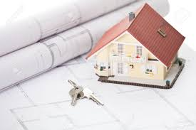 Architectural Floor Plans Model Home And House Key On Architectural Floor Plans Stock Photo