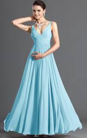 line deep v neck floor length blue chiffon bridesmaid dress