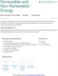 renewable and non renewable energy lesson plan education com