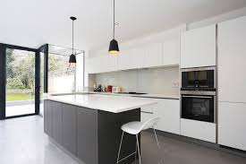 grey and white kitchen island extension