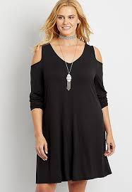 the 24 7 plus size sleeve t shirt dress with cold shoulders
