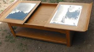 sliding top coffee table oak and glass coffee table sliding top w storage
