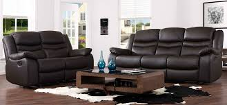 Recliner Leather Sofa Set Contour Espresso Brown Reclining 3 2 Seater Leather Sofa Set