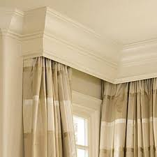 Curtain Crown Molding Curtains From Corner To Corner With A Crown Molding Cornice Box To