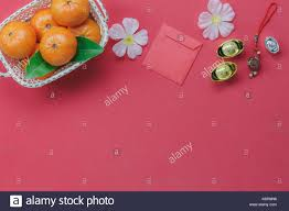 top view of items for chinese happy new year concept stock photo