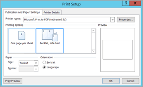 set up and print a letter sized booklet or newsletter publisher