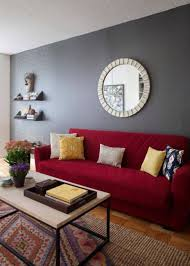 paint color ideas for living room with red couch wall color with