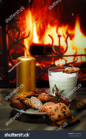 christmas cookies milk waiting santa claus stock photo 159863954