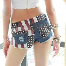 American Flag Workout Shorts 388 Women Shorts American Flag Trousers Jeans