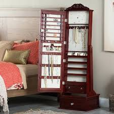 Jewelry Armoire Vintage Belham Living Removable Decorative Top Locking Mirrored Cheval