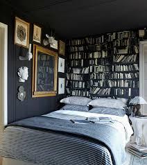 trompe l oeil chambre design interieur papier peint noir trompe oeil bibliotheque chambre