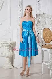 blue ruch bows chief bridesmaid dresses sweetheart taffeta 106 58