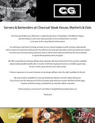 resume for bartender position available flyers we re hiring please send your resume to charcoal steakhouse