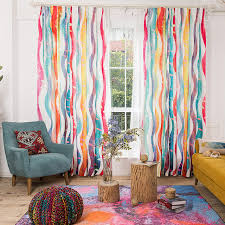 environmental linen colorful striped curtains for living room rain