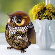 original metal brown owls shaped coin money saving box home decor