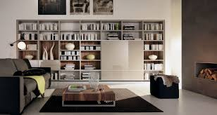 marvelous home library interior design with wall wooden cubicle