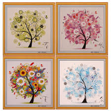 cross stitch embroidery four seasons tree counted cross