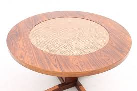 round rosewood copper coffee table