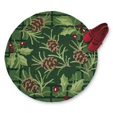 pinecones and holly berries hand hooked rug stylish home accents
