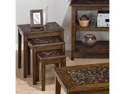Nesting Desk Baroque Brown 3 Piece Nesting Chairside Table With Mosaic Tile