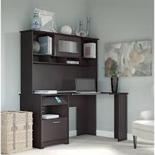 60 desk with hutch bush cabot 60 corner desk with hutch in espresso oak cab008epo