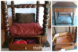 Pet Canopy Bed Recycled End Table Canopy Pet Bed Thriftyfun