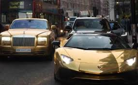 rainbow cars saudi man line london streets with super cars with millions of